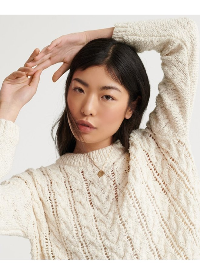 Layla Open Cable Knit - ecru