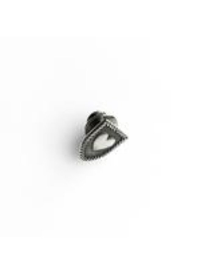 Heart Shield Pin  Sterling Silver