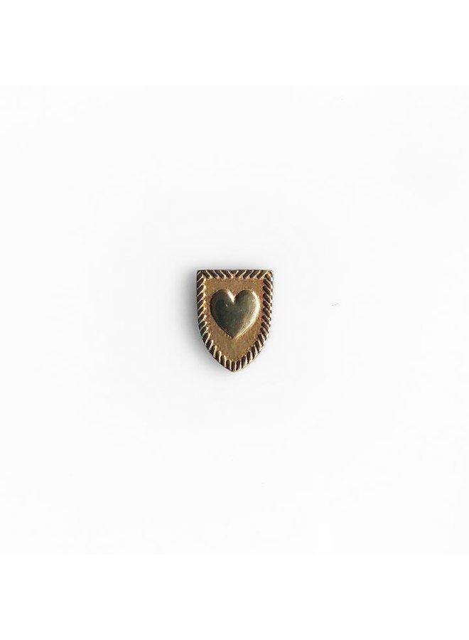 Heart Shield Pin Bronze