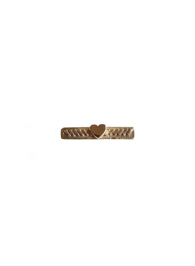 Heart Bar Pin Bronze