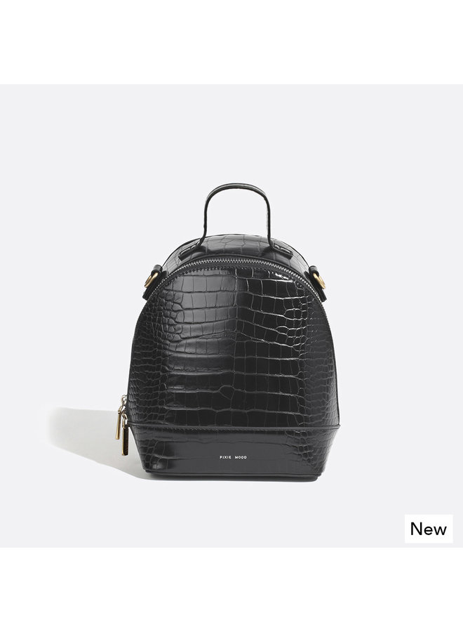 Cora Backpack  - Black /croc