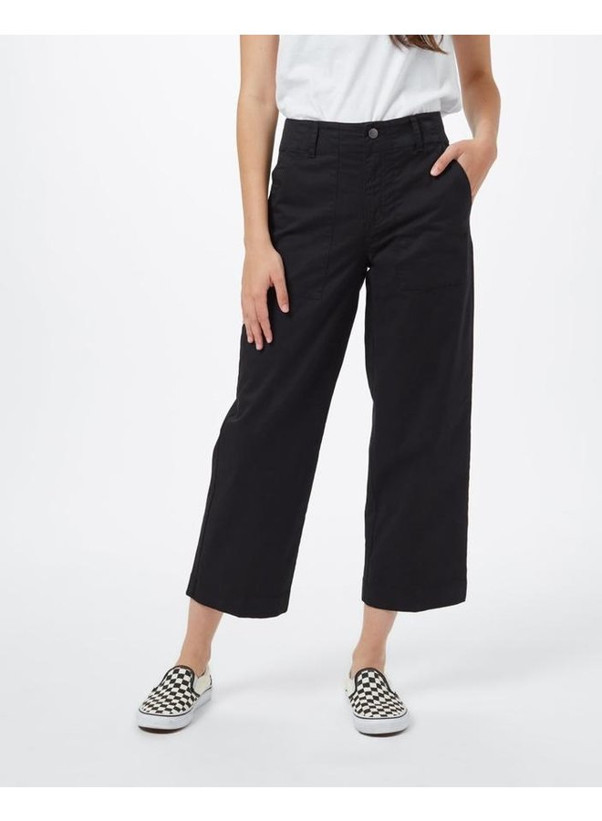 Twill Cropped Wide Leg