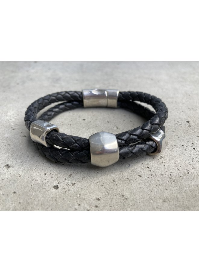 Wmn Double Braided w/ silver plated beads