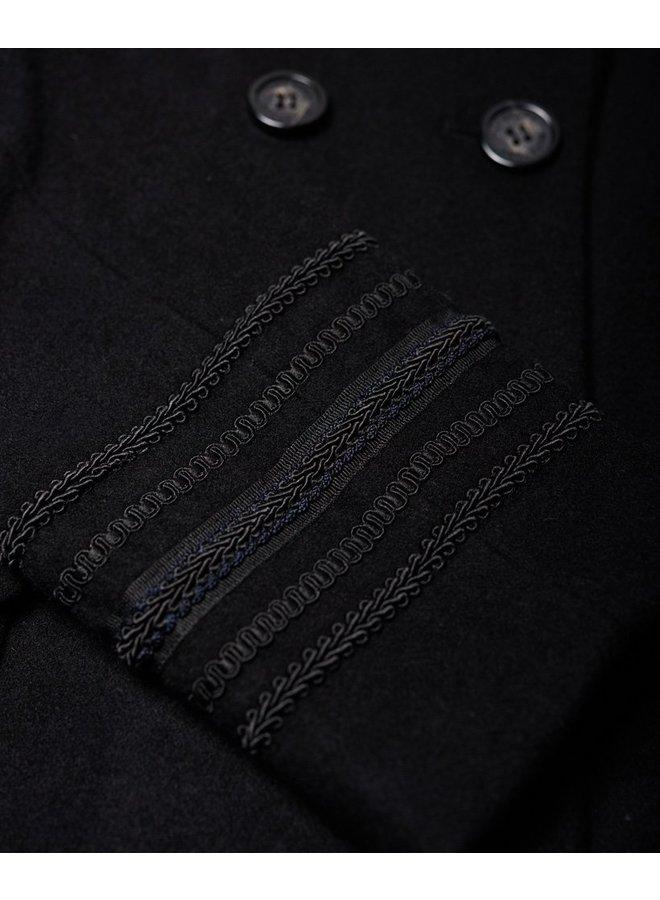Longline Wool Coat - black