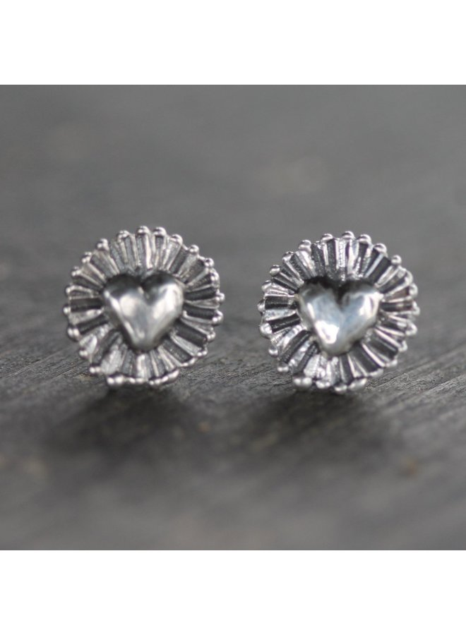 Shining Heart Sterling Silver Studs