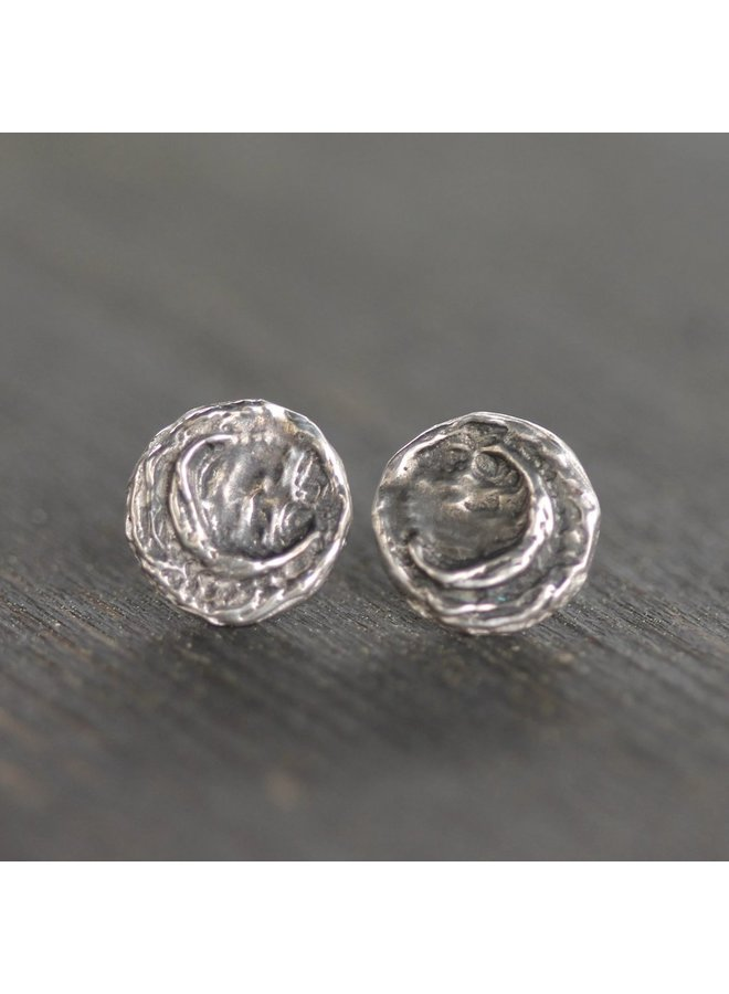Mini Moonscape Studs / Sterling Silver