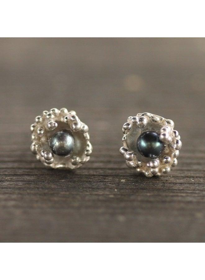Lana Studs Black Pearl/Sterling Silver
