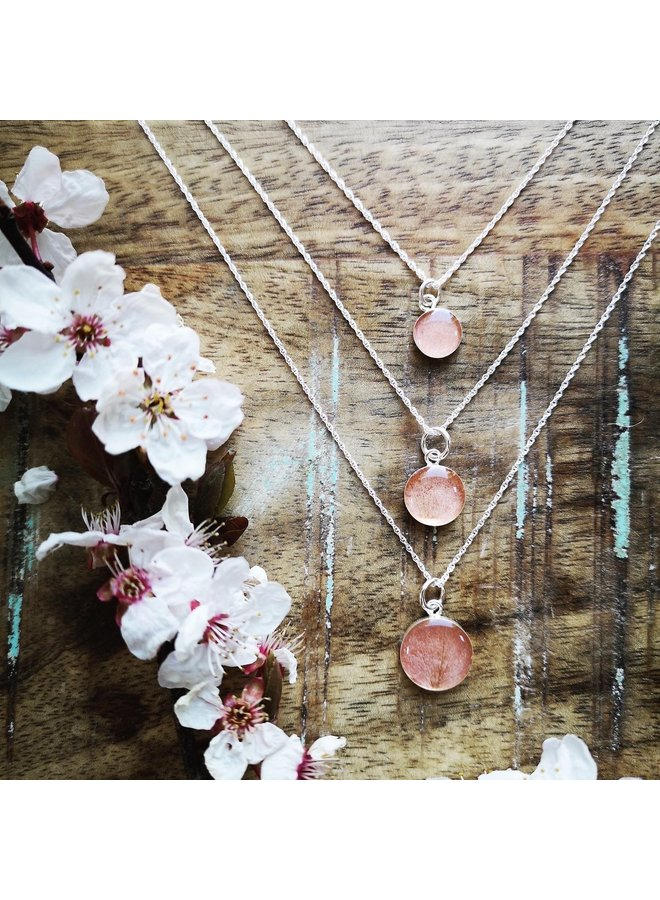 """Cherry Blossom Necklace 12mm - Silver 18"""""""