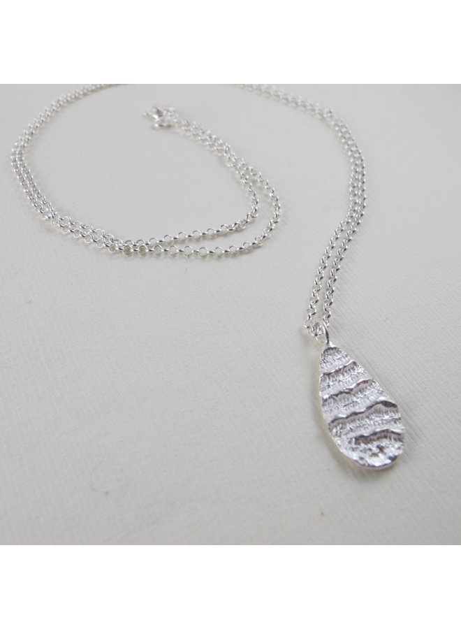 "Port Renfrew coral teardrop 24"" necklace"