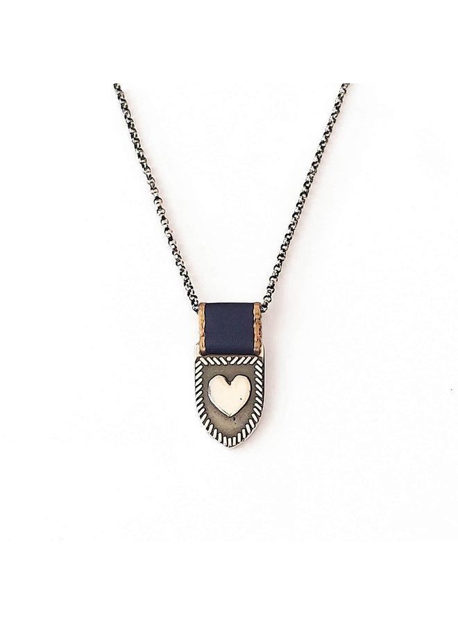"""Heart Shield Necklace Navy / Gold 20"""" Silver"""