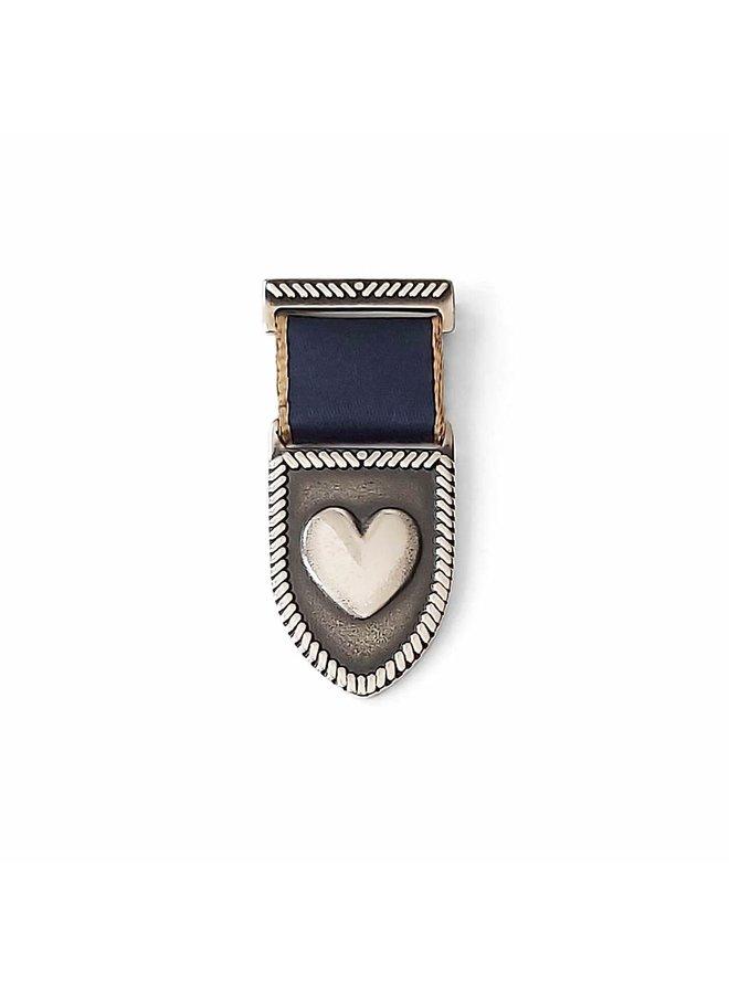 Medal Heart Shield Navy/Gold - silver
