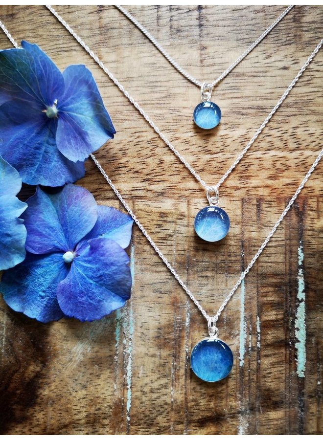 "Blue Hydrangea Necklace Silver 18"" 12mm"