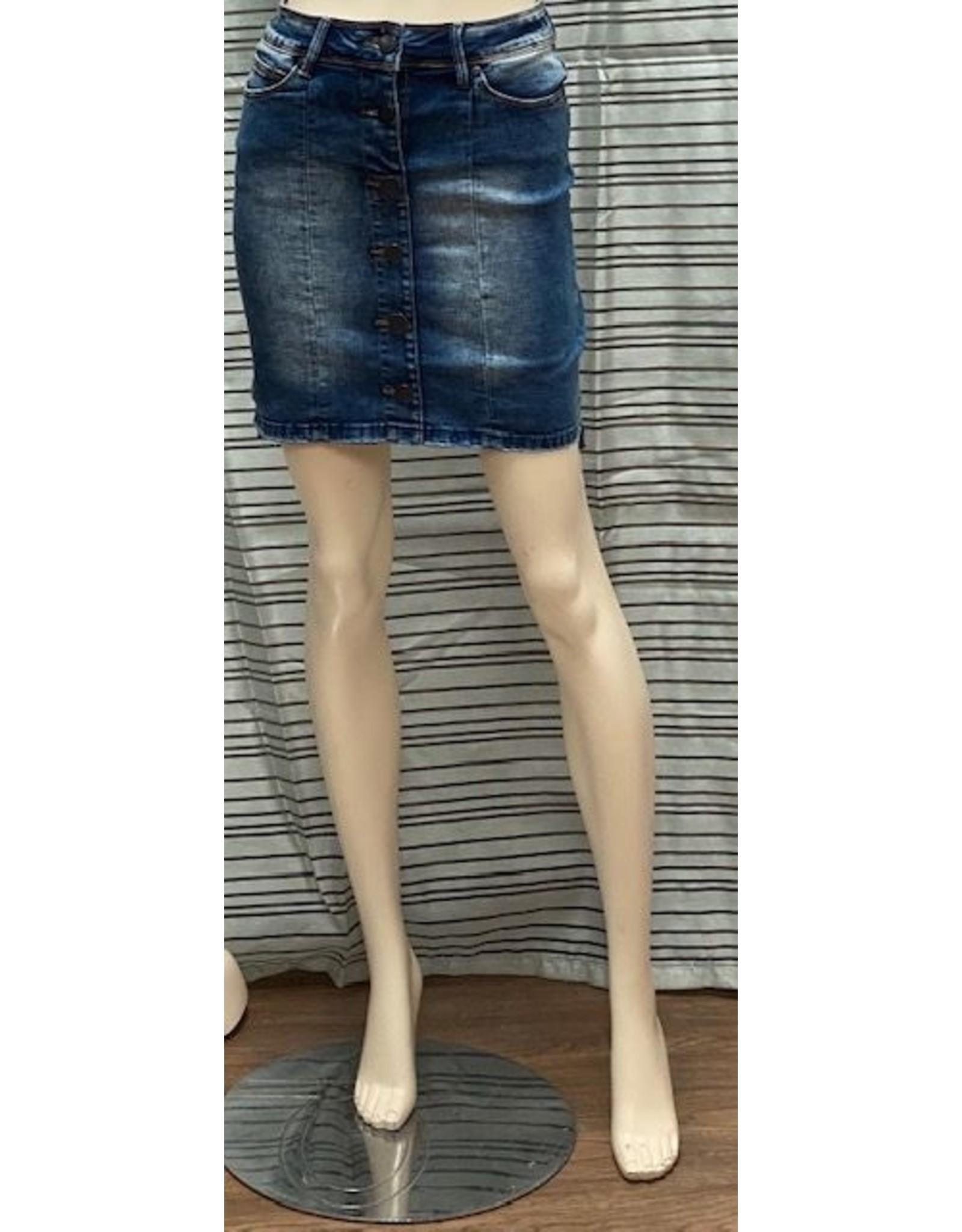 Lola Lola Liel Medium Blue Distressed Skirt