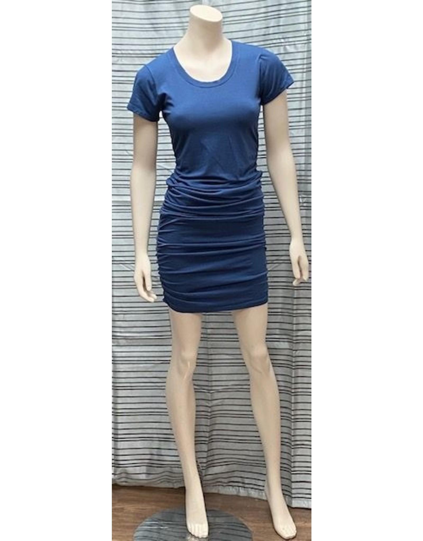 Bobi Bobi Los Angeles Short Sleeve Shirred Dress