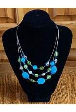 Lime &Blue Beaded Necklace & Earrings Set