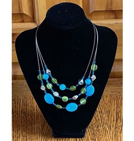 Lime & Blue Beaded Necklace & Earrings Set