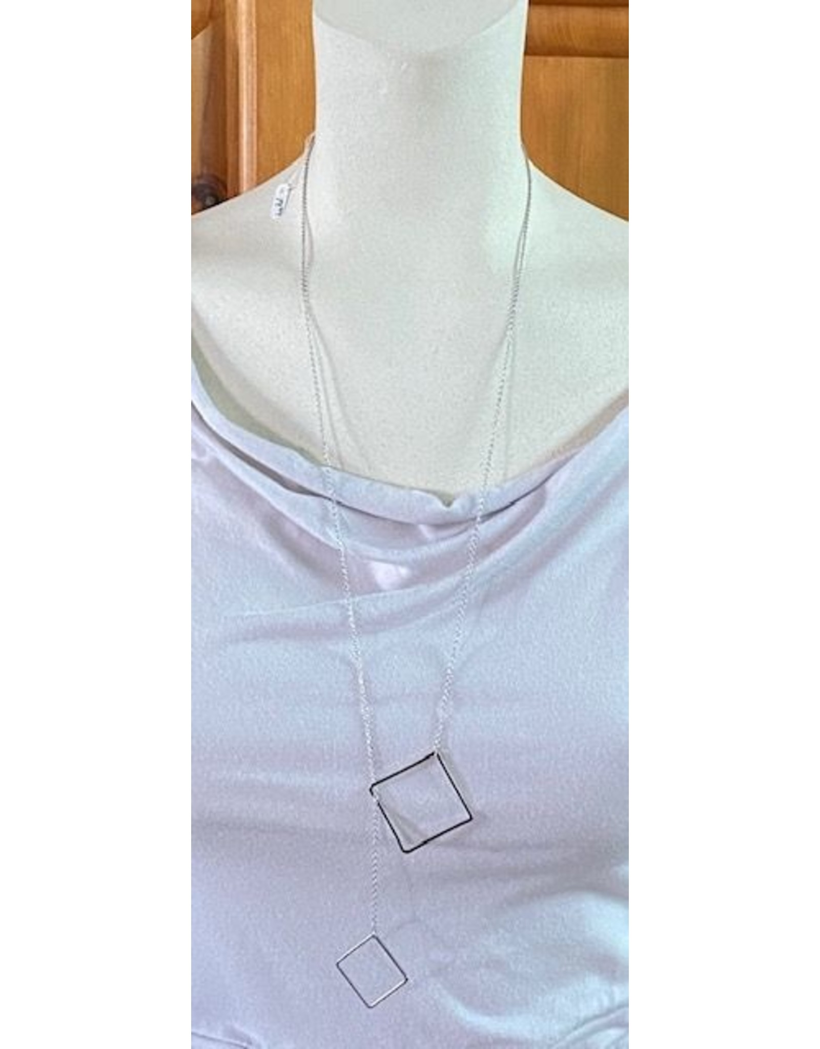 Silver Interlock with Square Necklace