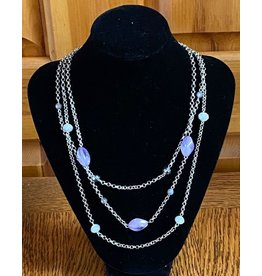 Purple & Silver Beaded Necklace