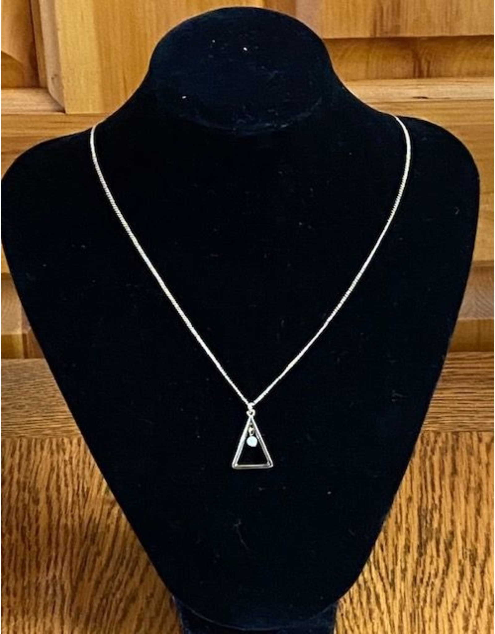 Long Necklace with Pearl Triangle