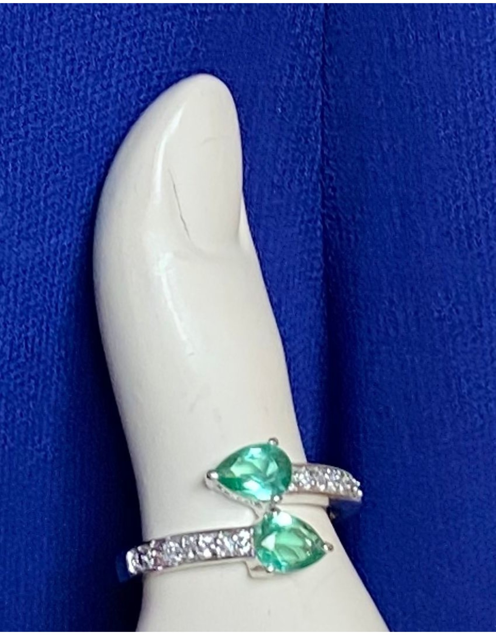 Green Double Stone Fashion Rings