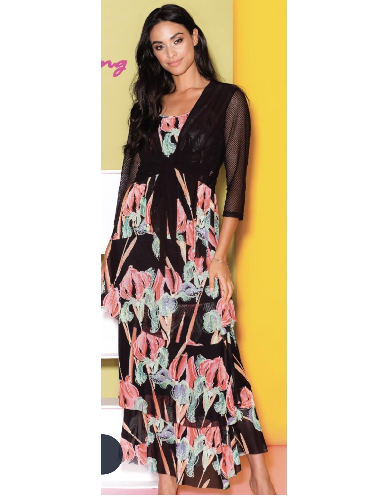 Elena Wang Elena Wang Long Layered Printed Dress