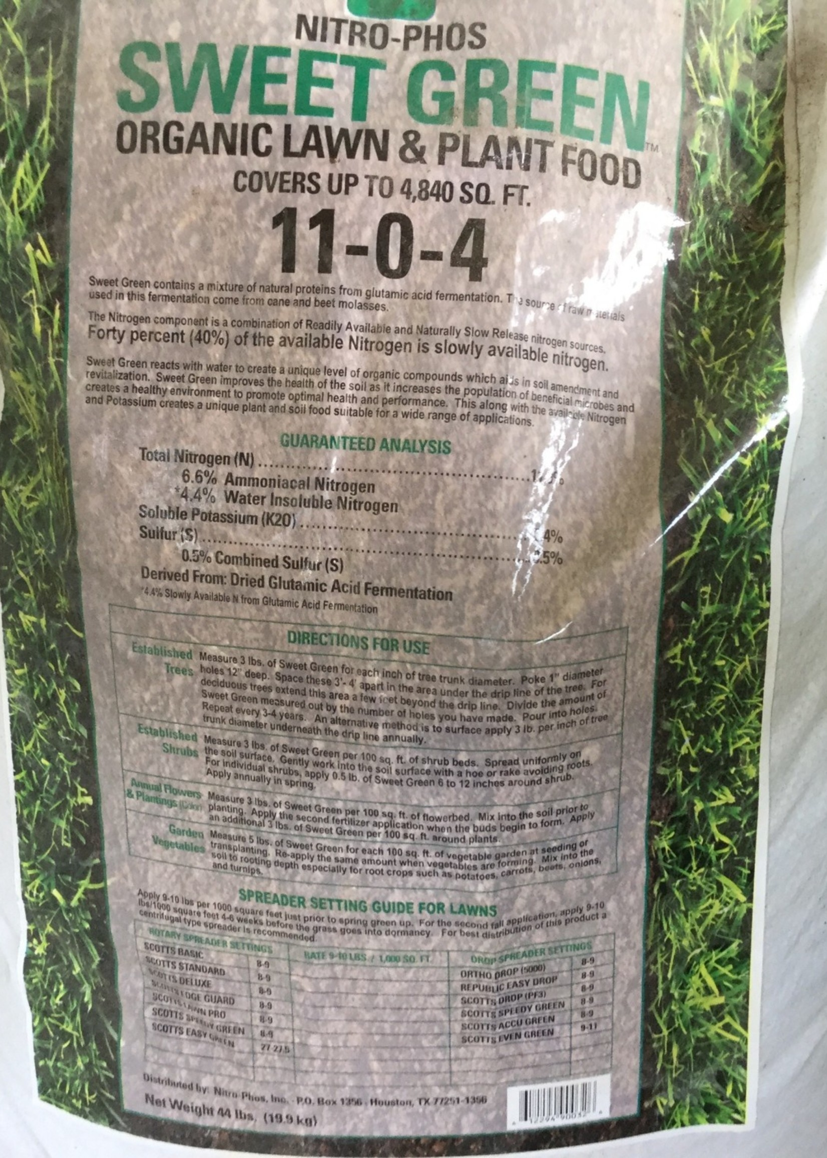 Nitro Phos Sweet Green Lawn Fertilizer 44 lbs. 11-0-4