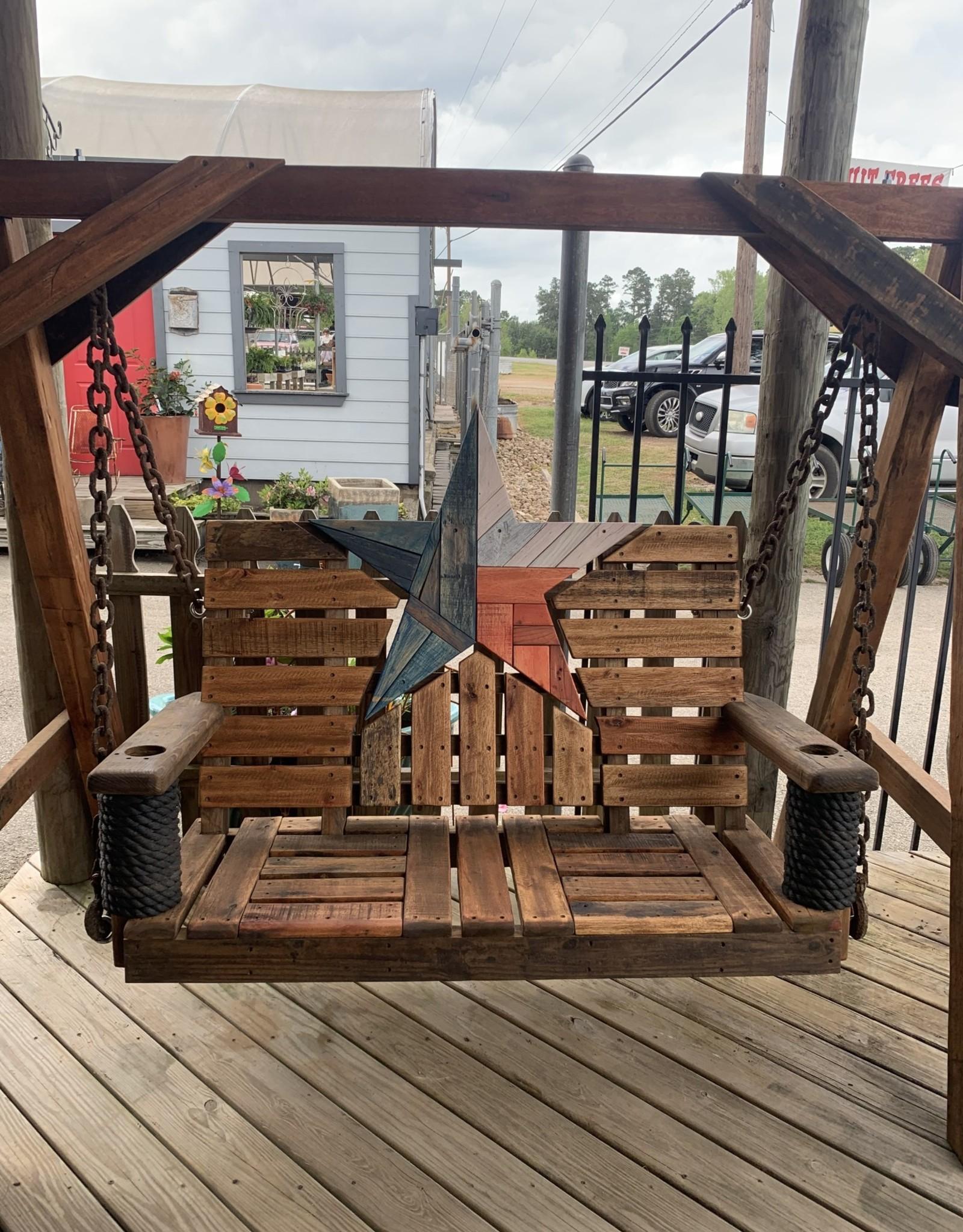 Swing, Texas Star, 4' Reclaimed Mahogany W/A-Frame