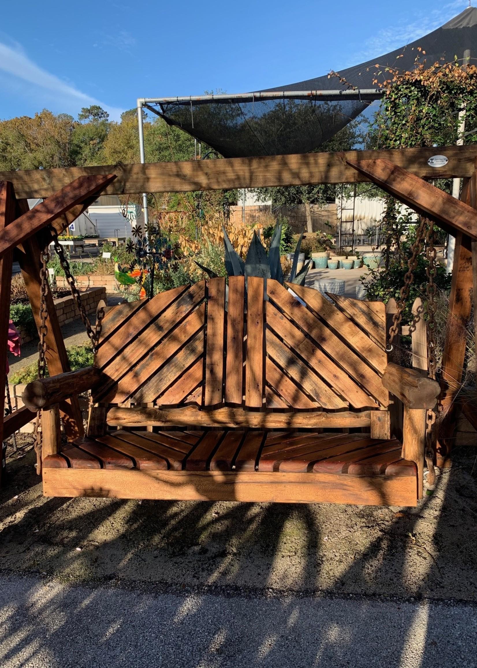 Swing, Cedar Logs, 6' Reclaimed Mahogany W/A-Frame