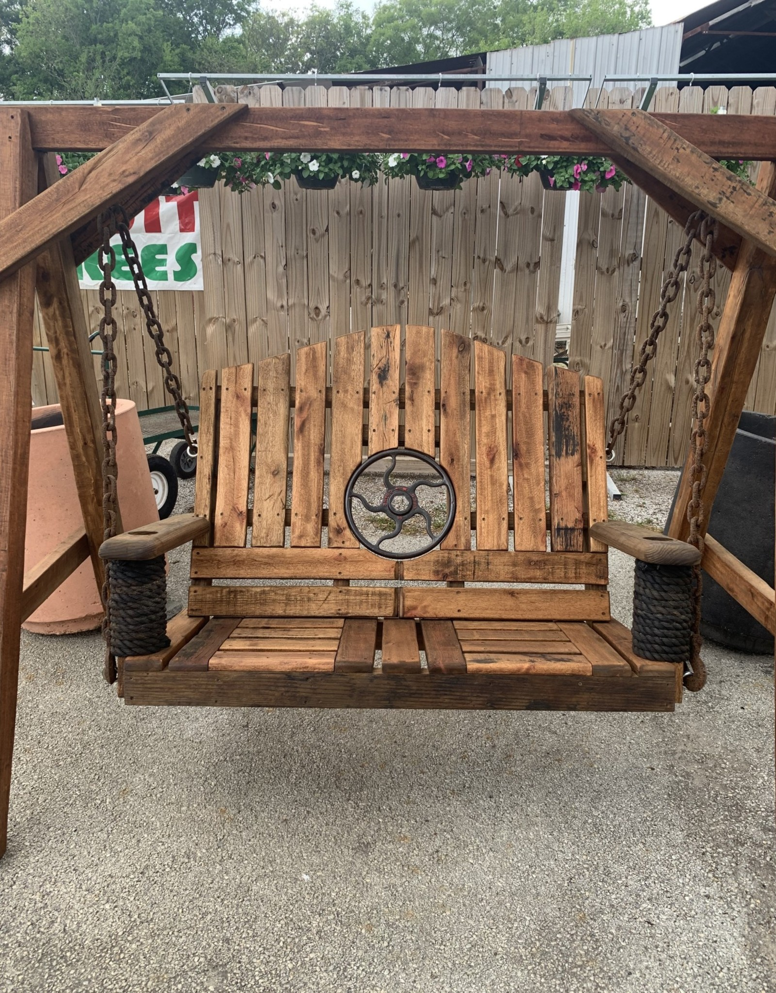 Swing, Salvaged Wheel, 4.5' Reclaimed Mahogany W/A-Frame