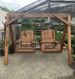 """Swing, Arched Single Seats 28"""" Reclaimed Mahogany W/A-Frame"""