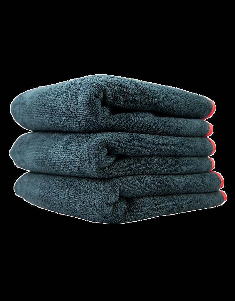 Chemical Guys Microfiber Towels 16X16 Heavy Black Towel, With Red Silk Edges - (3pcs/Bag) - 1Unit