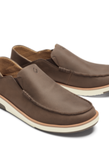 OLUKAI MEN'S OLUKAI KALIA LEATHER SLIP ON SHOE - DARK WOOD/DARK WOOD