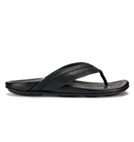 OLUKAI MEN'S OLUKAI HIAPO LEATHER FLIP FLOP-LAVA ROCK