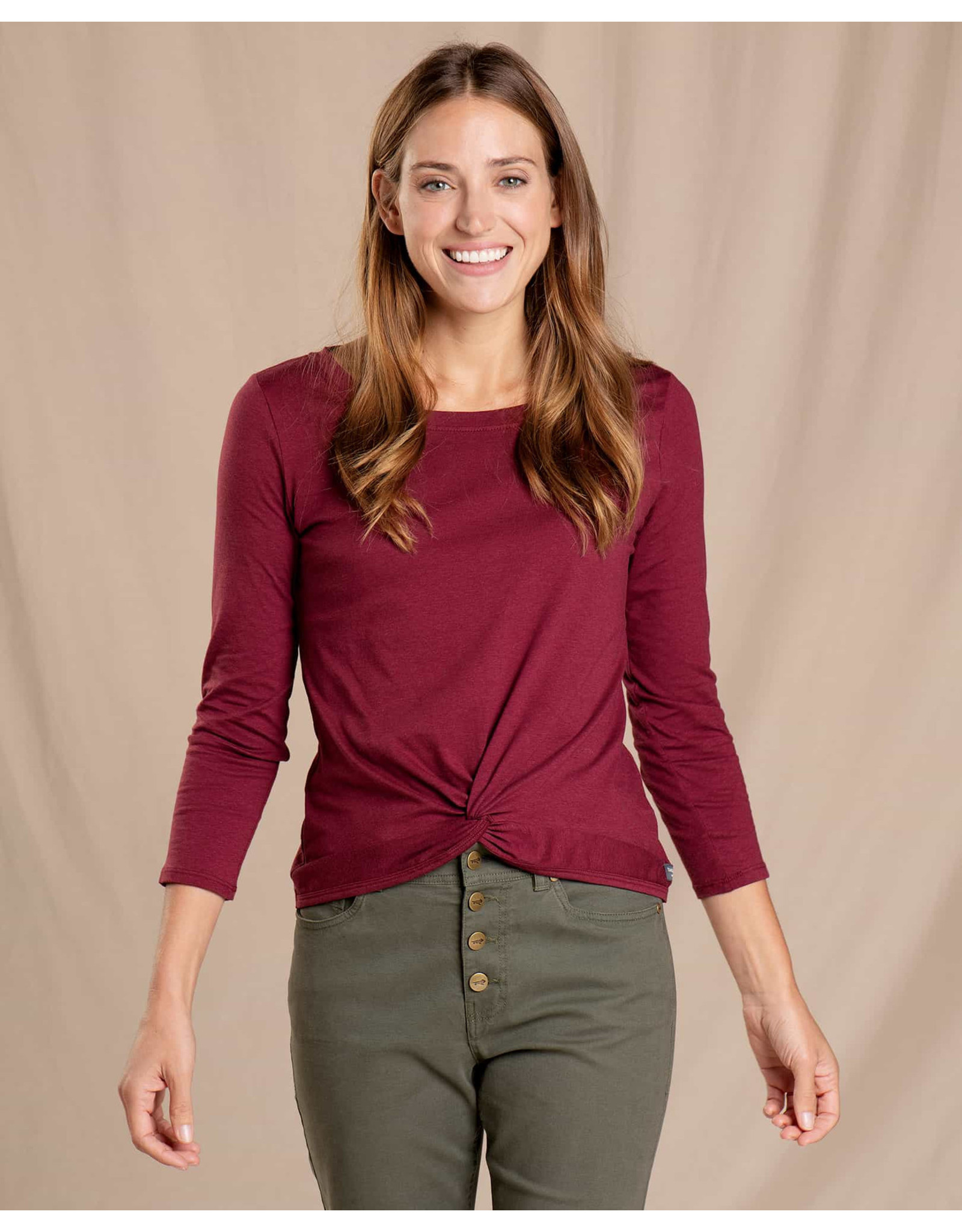 toad & co WOMEN'S TOAD & CO. MAISEY 3/4 SLEEVE TWIST TOP-PORT
