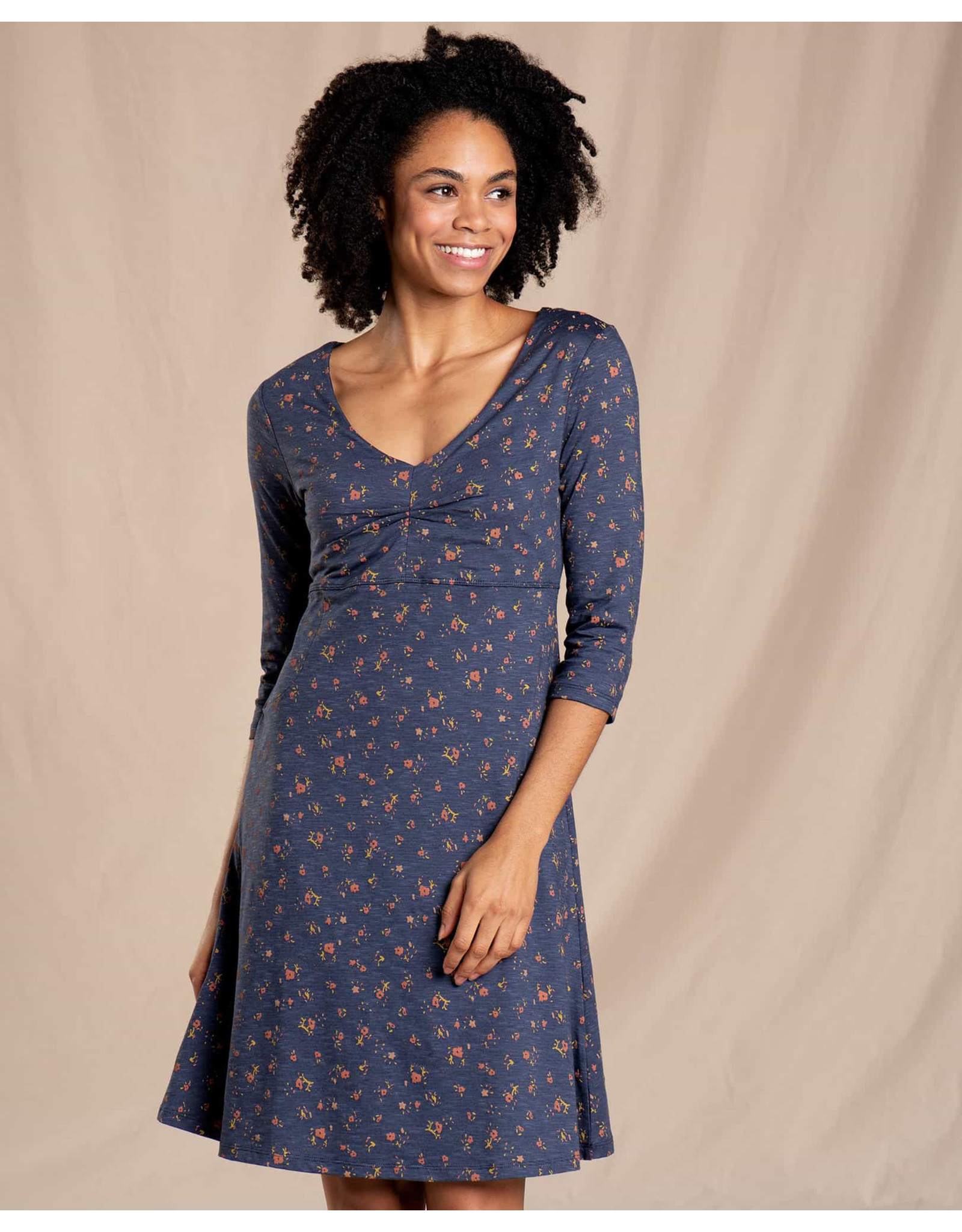 toad & co WOMEN'S TOAD & CO. ROSALINDA DRESS-TRUE NAVY PAINTERS FLORAL