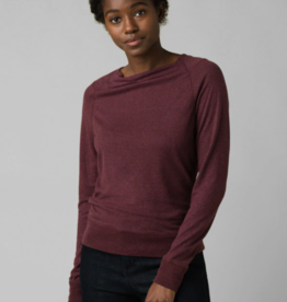 PRANA PRANA ANALIA COZY UP LONG SLEEVE TOP-RAISIN HEATHER