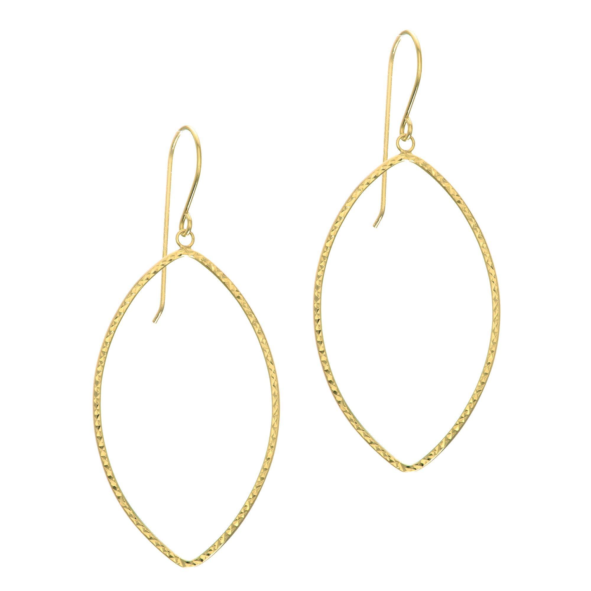 14kt Yellow Gold Diamond-Cut Marquise Drop Earrings