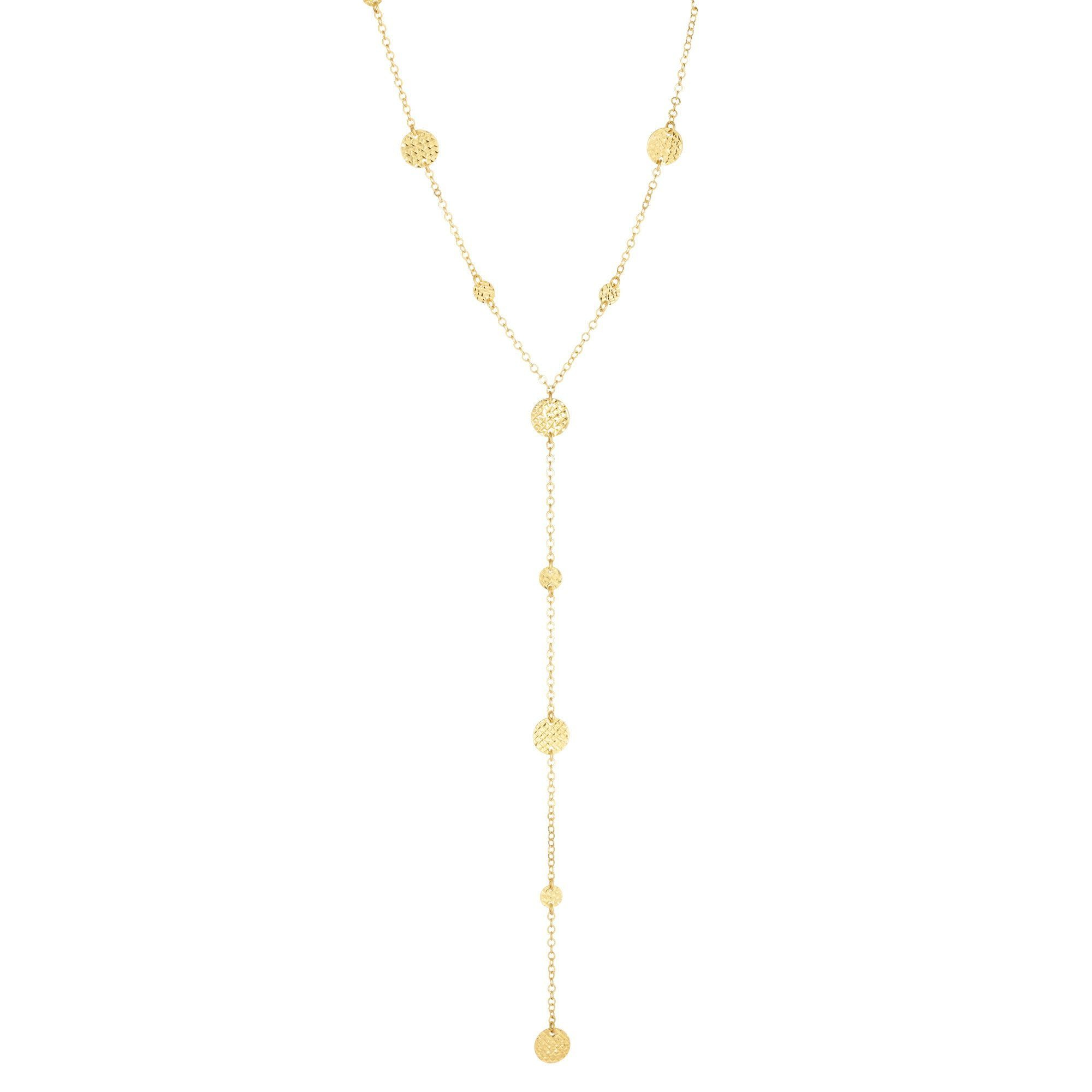 "14kt 17"" Yellow Gold Diamond Cut Flat Bead Stationed Lariat Necklace"