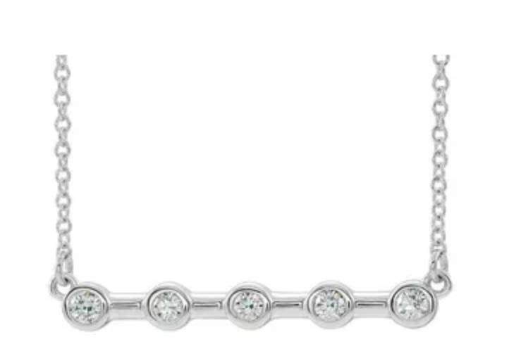 18KW 5 diamond bezel bar necklace on 14KW chain