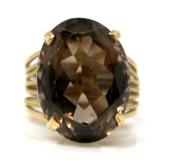 14kt Yellow Gold  Smoky Quartz Oval Ring