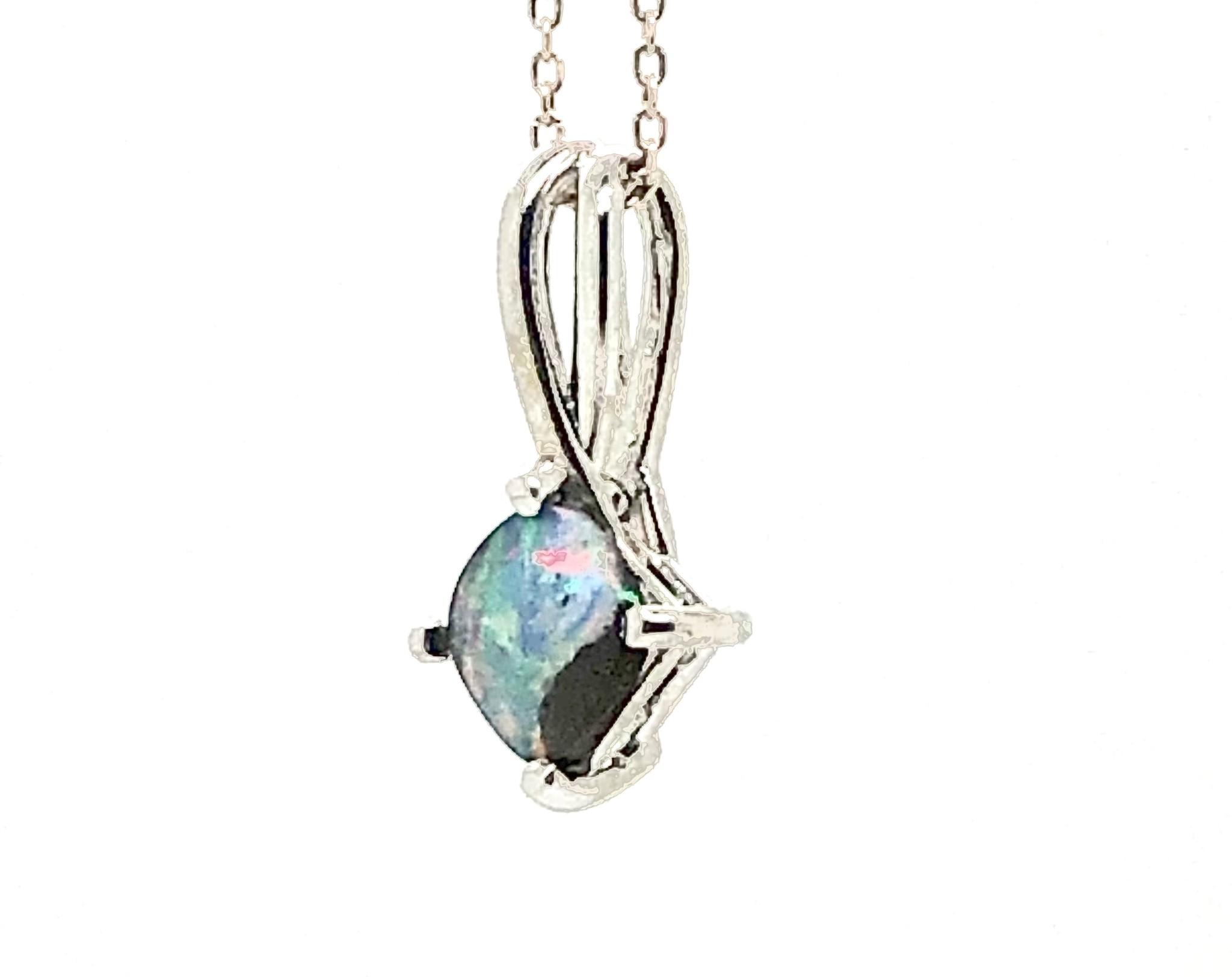 14K White Gold Australian Opal Pendant