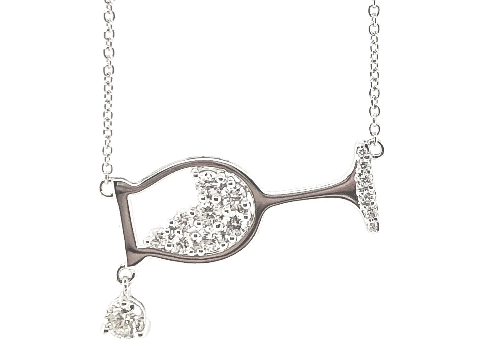 14KW Dia Wine Glass Necklace