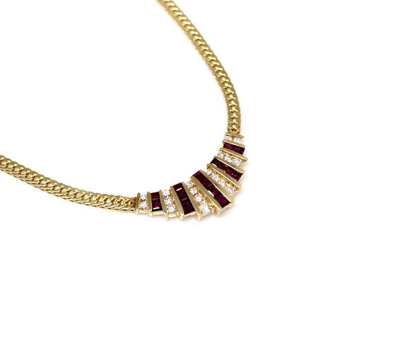 14k YG Ruby and Dia Vintage Necklace