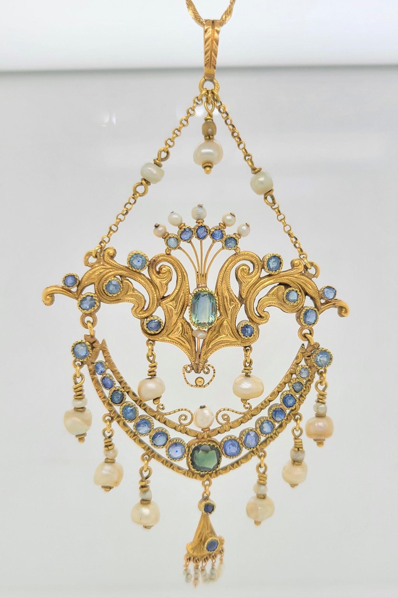 Art Nouveau Diamond & Sapphire Necklace