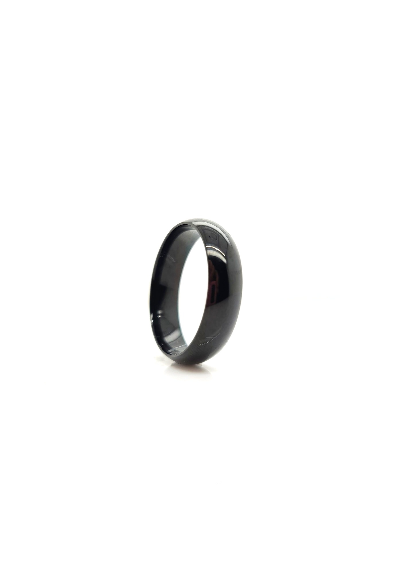 Tungsten Carbide black half round, sz 10.75, 5.8mm