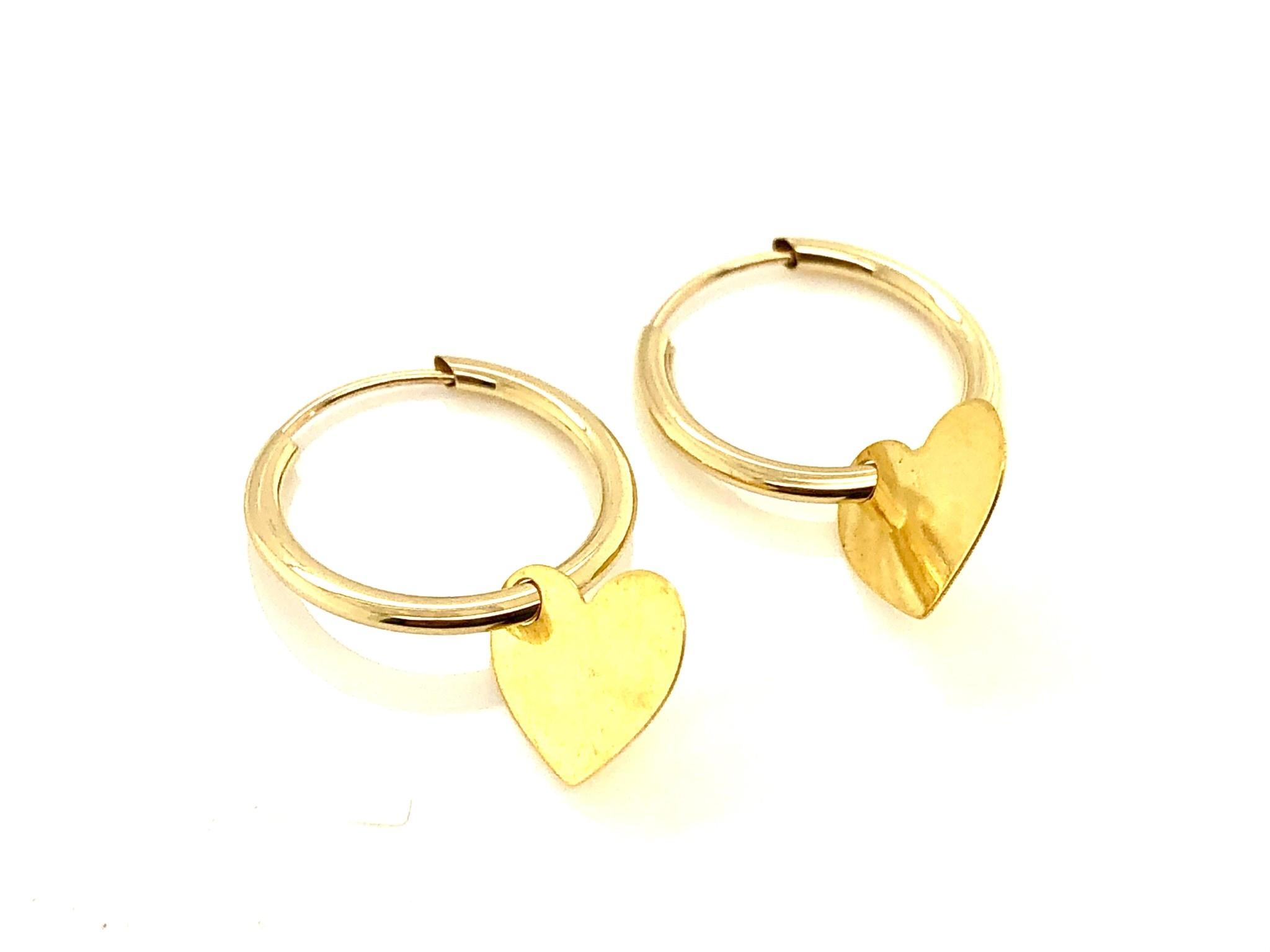 14K Yellow Gold Heart Earrings