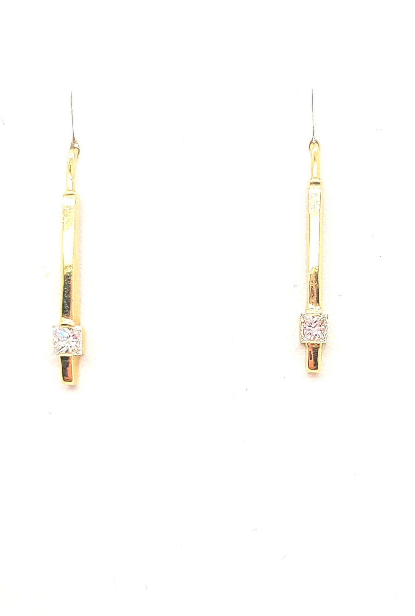 14kt Yellow Gold Princess-cut Diamond Bar Earrings 0.40ctw