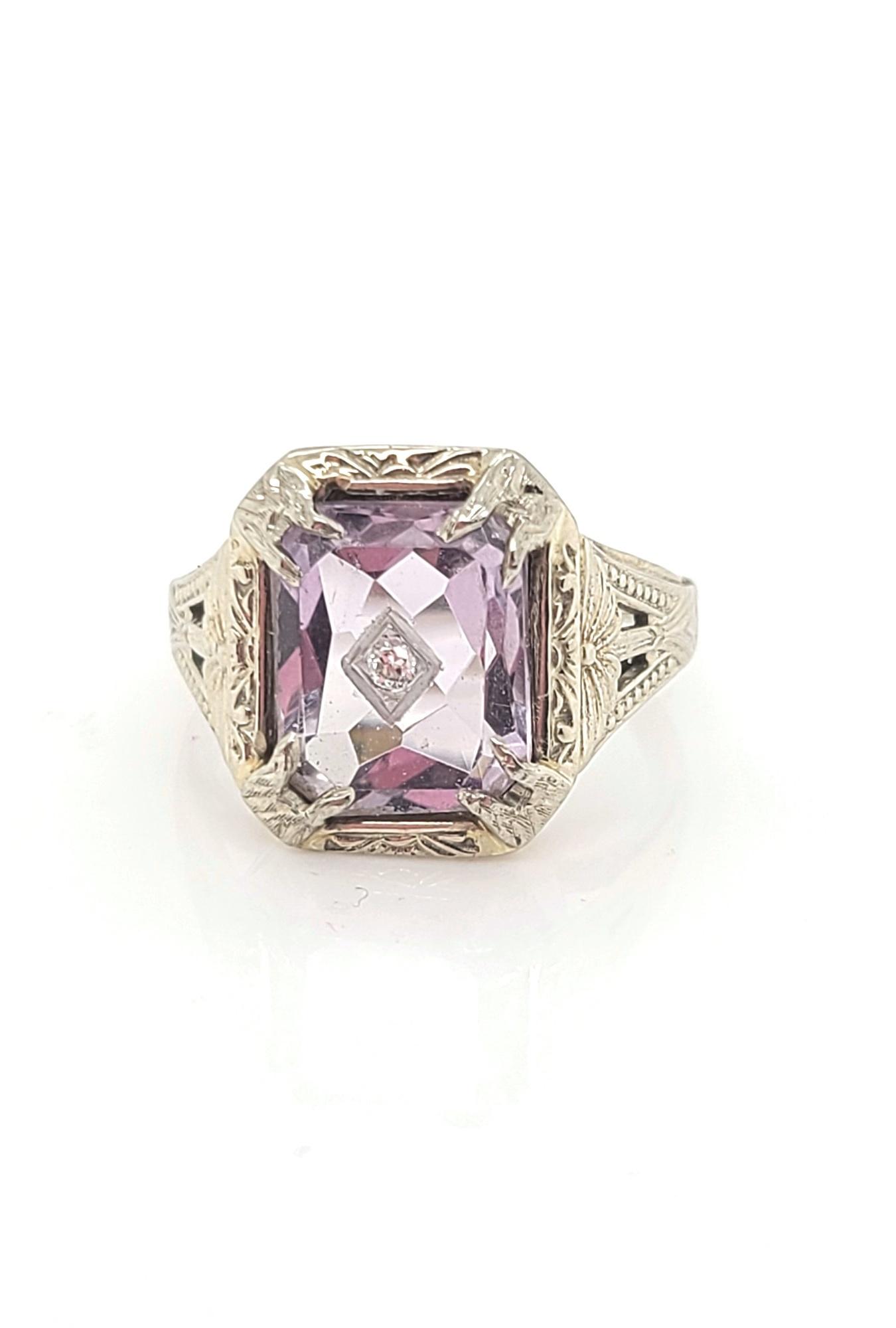 14kt White Gold, Amethyst & Diamond Inset Vintage Ring