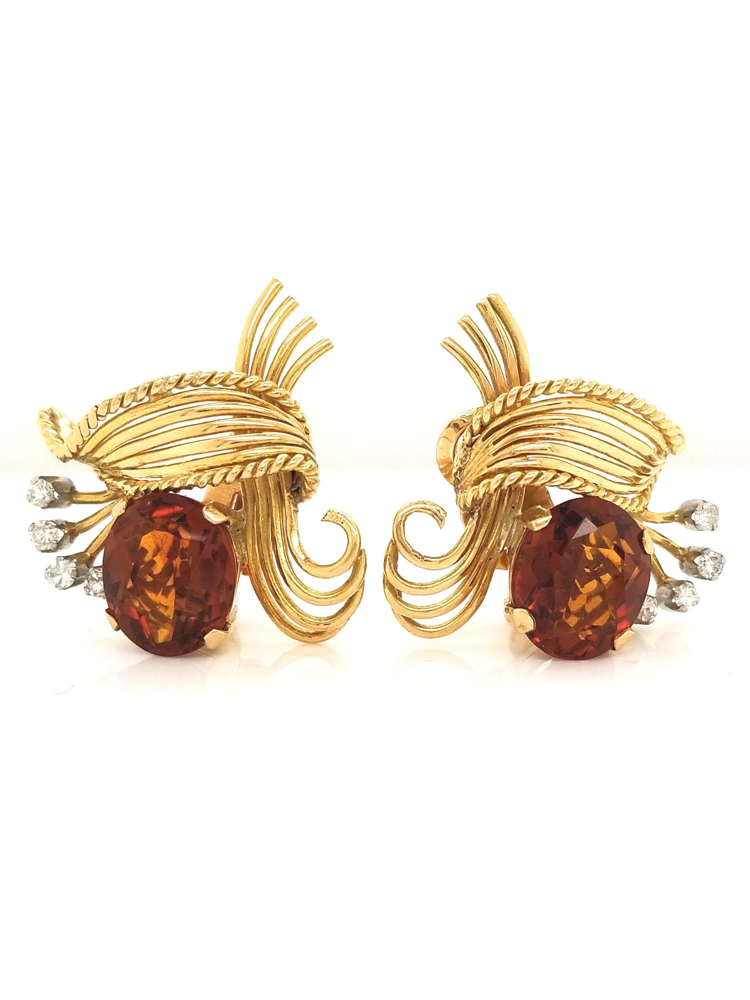 14kt Yellow Gold Oval Madeira Citrine & Diamond Earrings