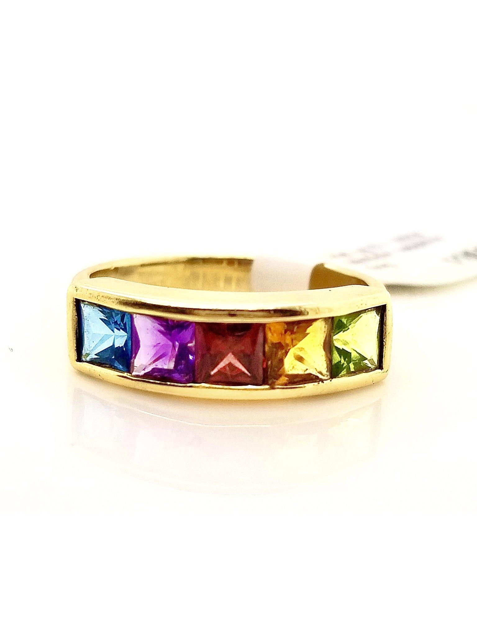 14kt Yellow Gold 5-stone Rainbow Sapphire Ring